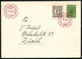 17.9.1943 Expo philatelique nationale Genève Blockausschnitt (linke Hälfte) auf Karte nach Zürich