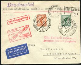 K38   6.8.1930 Katapultflug Dampfer Bremen - Southampton Seepostaufgabe nach Frankfurt