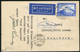 11./15.10.1928   Zeppelin Amerikafahrt 1928, Bildpostkarte mit 2 RM Zeppelin