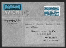 1.12.1936 FLP von Solothurn via Chiasso nach Singapore, Straits Settlements