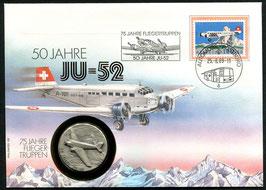 25.8.1989 Numisbrief 50 Jahre JU-52, 75 Jahre Fliegertruppen und 25 Jahre Patrouille Suisse