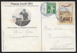 1913 Flugvorläufer Liestal Nr. VIII auf offiz. Karte nach Liestal