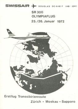 "Bordpost-Brief +Gedenkblatt  25./26.1.1972 Olympiaflug der SWISSAIR DC-8-62F ""HB-IDH"""