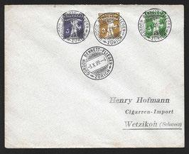 1909 Satzbrief Tellknabe mit Armbrust Nr. 117-119