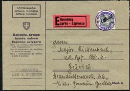 23.3.1943  Express-Brief der Schweiz. Armee vom Kommando der 6. Division