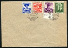 1939 Pro Juventute FDC Zürich 1.12.1939 auf unadressiertem Umschlag