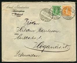 1.2.1909 Basel schöne Mischfrankatur nach Högenas, Schweden