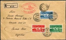 Flugschiff DO-X  14.11.1932  Satz-Brief eingeschrieben ZH-Altenrhein nach Argentinien, Buenos Aires selten