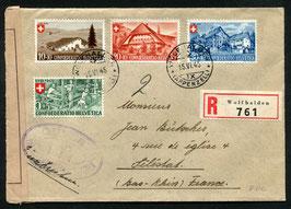 1945 Bundesfeier FDC Wolfhalden 15.6.1945 auf zensuriertem R-Brief nach Séléstat, Frankreich