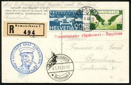 6./9.5.1933  1. Zeppelin Südamerikafahrt 1933 Abwurf Barcelona mit Leitstempel