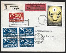 SF 27.1 Ein toller Umschlag Express und eingeschrieben für den SF Brugg-Yverdon
