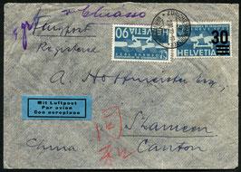 2.3.1937 FLP Brief von Zürich nach Canton, CHINA mit FLP Frankatur