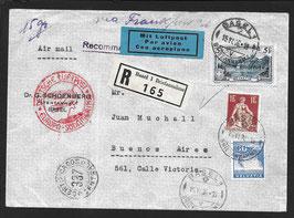 15.6.1936 FLP Brief von Basel nach Buenos Aires, Argentinien via Frankfurt, eigeschrieben