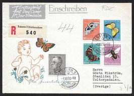 1950 Pro Juventute Satzbrief FDC von Luzern nach Toltorpsdalen, Schweden