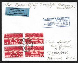 18./19.5.1932 Deutscher Schleuderflug Dampfer Bremen nach New York