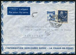16.8.1946 FLP Brief von La Chaux-de-Fonds nach Shanghai, China