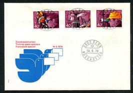 14.9.1978 Sonderpostmarken SUVA auf offiziellem FDC nicht zusammenhängend mit Vollstempel!