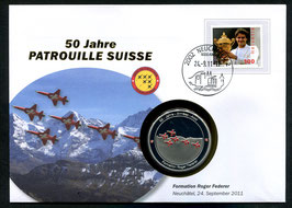 Formation Roger Federer, Neuchâtel, 24. September 2011 --- 50 Jahre Patrouille Suisse
