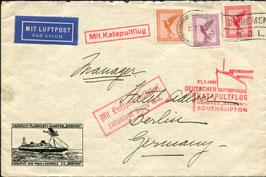 21.7.1930 Katapultpost Bremen - Southampton, Seepostaufgabe, adressiert an das legendäre Hotel ADLON