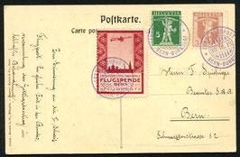 """1913 Flugvorläufer Bern Nr. III auf offiz. Karte """"Oskar Bider auf  dem Berner Flugfeld"""""""