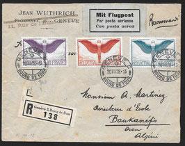 20.8.1928 FLP Brief von Genf nach Bankanefis, Oran, Algerien eingeschrieben