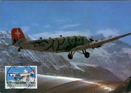 1988   Tag der Aerophilatelie, schöne Maximumkarte mit F49 Vollstempel. JU 52