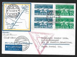 14.10./2.11.1933 Chicago Dreiecksfahrt zur Weltaustellung und 50. Ozeanüberquerungauf schöner Karte der Lufthansa nach Rio de Janeiro, Brasilien