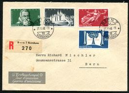 1948 FDC 100 Jahre schweiz. Bundesstaat, Bern 27.2.1948 auf R-Brief