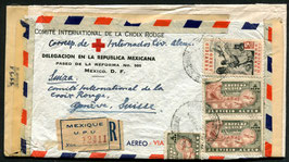 MEXICO 1945 R-FLP Brief von Roten Kreuz in Mexico nach Genf zensuriert