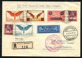 9./12.6.1934  Zeppelin 2. Südamerikafahrt 1934 nach Porto Alegre, Brasilien