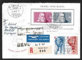 21.8.1948 IMABA Schöner FLP Brief mit IMABA Block und PP Zusatzfrankatur nach Madrid, Spanien, eingeschrieben