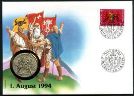 1994 Numisbrief 1. August Taler - Thema: Schlacht bei Grandson 1476