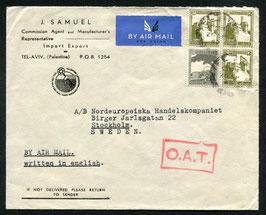 1945 O.A.T. Stempel Typ 7 rot (London) auf FLP Brief von Tel-Aviv, Palästina nach Stockholm, Schweden