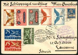FF 33.5e Schleppsegelflug Österreich-Ungarn-Italien-Schweiz Etappe Wien-Insbruck ab Zürich