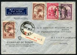 BELGISCH KONGO 1939 FLP-Beleg eingeschrieben ab Leopoldville (21.3.1939) nach Glarus, Schweiz