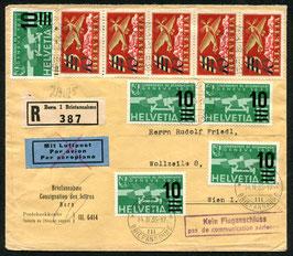 Vermerkstempel Nr. 28 violet auf Brief von Bern nach Wien eingeschrieben und Portogerecht 1935
