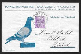 """19.8.1934 Brieftaubenpost """"ZUGA"""" Zürich zu Gunsten der Vogelwarte Sempach"""