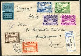 ISLAND 1936 FLP Brief, eingeschrieben von Reykjavik, Island nach Basel