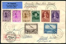 Belgien 3.7.1932 FLP Brief von Bruxelles, eingeschrieben via Paris-Basel nach Zürich AKSt. 6.7.1932