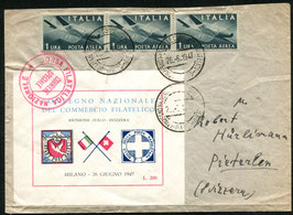 Italien 26.6.1947 von Mailand nach Pieterlen mit Sonderblock
