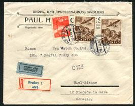 TSCHECHOLSLOWAKEI 10.1.1944 FLP Brief nach Biel eingeschrieben
