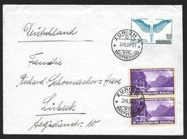 3.7.1938 FLP Brief von Zürich nach Lübeck, Deutschland mit F22 Abart verschobener Unterdruck. Attest.