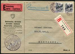 1942 Express, eingeschrieben vom Generalstabs der 1. Division nach Montreux  Verwaltungsmarken
