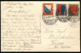 1920 Pro Juventute Satzbrief (Karte) mit Bahnpoststempel AMB Basel-Milano-Brig nach Kriens