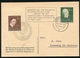 """12.4.1952 Ballon HB-BIC """"Zürich"""" / Fred Dolder Schweizer Ballone im Ausland"""