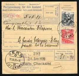 1939 Anweisung für das Ausland von Bern nach Frankreich   Verwaltungsmarken