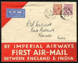 England 28.3.1929 FLP Brief von Dorking, England nach Karachi, Indien mit Spezial-Umschlag