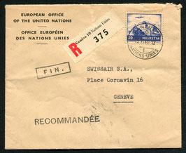 1948 Vereinte Nationen, Europa-Büro, R-Brief nach Genf