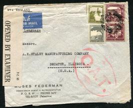 O.A.T. Stempel Typ 4 rot (London) auf FLP Brief von Tel-Aviv, Palästina nach Decatur, USA