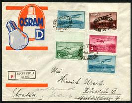 RUMÄNIEN 3.3.1937 R-FLP Brief von Bukarest nach Zürich, Schweiz mit schöner FLP-Frankatur